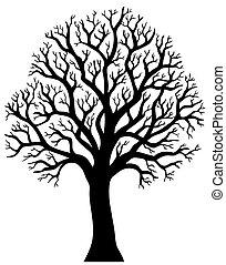 2, træ, uden, silhuet, blad