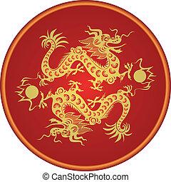 2012., drage, zodiac, kinesisk, år