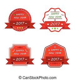 2017, emblem, glade, ornamental, nye, sæt, vinhøst, år