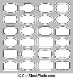 24, etiketter, sæt, (vector), blank
