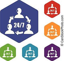 24, iconerne, understøttelse, vektor, 7, hexahedron