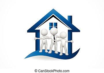 3, logo, hus, folk, ægte, lille, estate