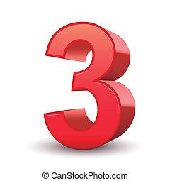 3, skinnende, antal, rød, 3