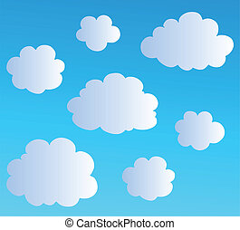 3, skyer, cartoon, samling
