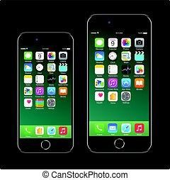 7, ambulant, realistiske, sort, varemærke, smartphone, iphone, telefon, æble, nye