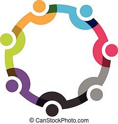 7 folk, sociale, netværk, gruppe