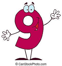 9, glade, karakter, antal, cartoon