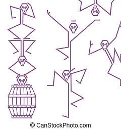 abe, akrobater, spille, tønde