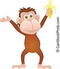 abe, cartoon, morsom, banan