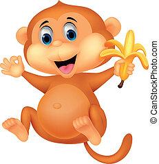 abe, cute, nydelse, banan, cartoon