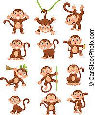 abe, glade, sæt, samling, cartoon