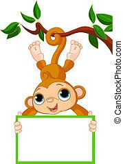 abe, holde, træ, baby, blank