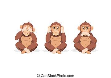 abe, mund, isoleret, cartoon, lukke øjne, hvid, ører, siddende, tre, baggrund