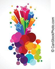 abstrakt, ødelægge, farverig, stjerner