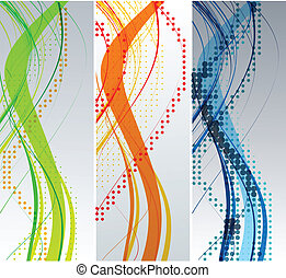 abstrakt, baggrund, komposition, bølge
