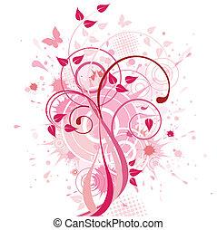 abstrakt, baggrund, lyserød, blomstrede