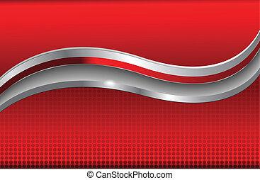 abstrakt, baggrund, rød, metallisk