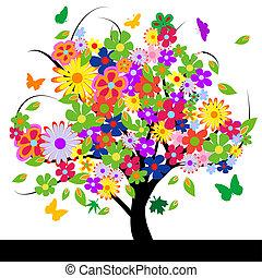 abstrakt, blomster, træ
