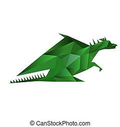 abstrakt, drage, illustration, isoleret, origami, grønnes hvide