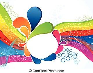 abstrakt, kunstneriske, farverig, bølge