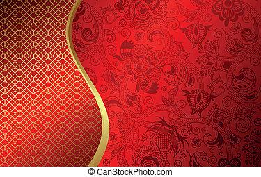 abstrakt, kurve, rød baggrund
