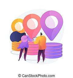 abstrakt, ledelse, illustration., kæde, begreb, forråd, vektor