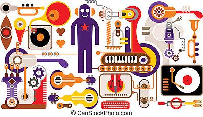 abstrakt, musik, illustration