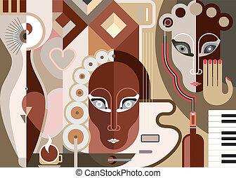 abstrakt, musikalsk begavet, illustration