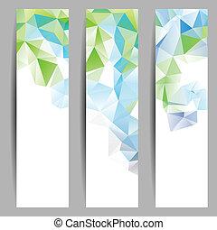 abstrakt, sæt, bannere, trekanter