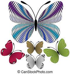 abstrakt, sæt, sommerfugle, mosaik