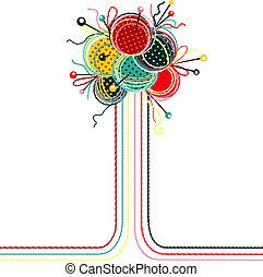 abstrakt, strikkearbejde, kugler, garn, komposition