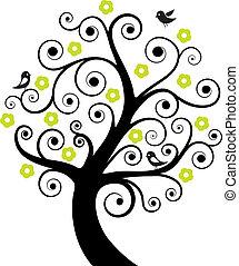 abstrakt, træ, fugle