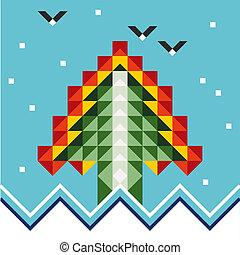 abstrakt, træ, jul