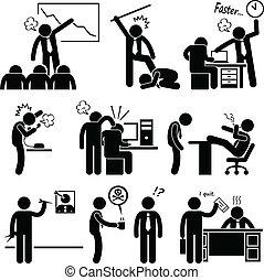 abusing, ansatte, vrede, boss