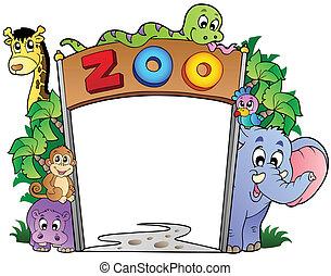 adskillige, indgang, dyr, zoo