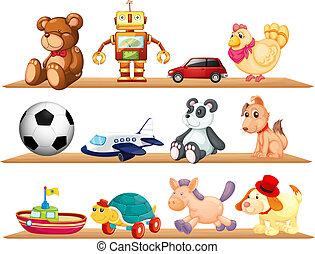 adskillige, legetøj