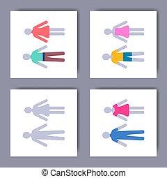 adskillige, vektor, kvindelig, minimalist, iconerne, mandlig