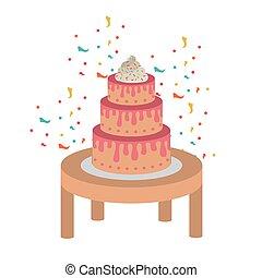 af træ, kage, fødselsdag, glade, tabel