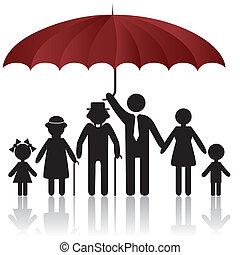 afdækket, silhuetter, paraply, familie, under