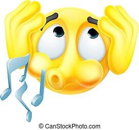 afdækning, tilsidesæt, emoji, ører, fløjt, emoticon