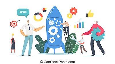 afdelingen, firma, karakter, nye, raket, startup, hold, businesspeople, newcomer, igangsætning, igangsætning, projekt, medlem, holde