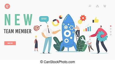 afdelingen, firma, karakter, nye, template., raket, startup, hold, side, newcomer, igangsætning, projekt, medlem, holde, landgangen