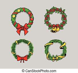affattelseen, krans, komisk, jul