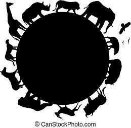 afrika, silhuet, dyr