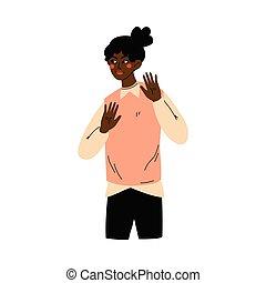 afrikansk amerikaner, forskrækket, illustration, rystet, gesturing, vektor, pige