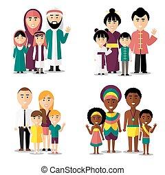 afrikansk, araber, vektor, europæisk, families., asiat, iconerne, sæt, bogstaverne