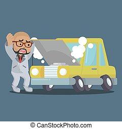 afrikansk, forretningsmand, panicked, automobilen, brudt