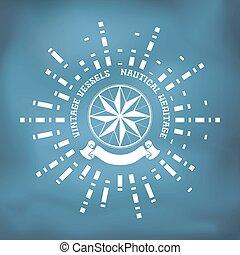 afsejlingen, rose, kompas, bånd, emblem, vind