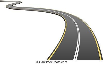 afstand, asfalt, abstrakt, isoleret, baggrund., afrejse, hvid, vej