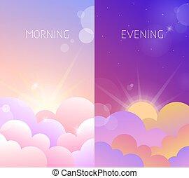 aftenen, himmel, illustration, formiddag